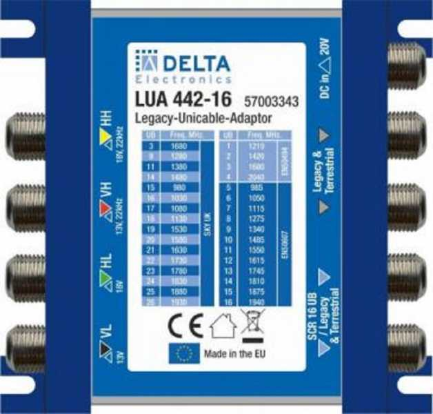 LUA 442-16, Legacy to dSCR Adapter 4 In (SAT&Ter.) - 2 dSCR + 2 Legacy Out