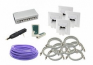 Netzwerk Installationsset NIS 8 - Cat.6a 8Port Patchfeld, Cat.6a 2xRJ45 Datendosen, Cat.7a Verlegekabel, Cat.7 Patchkabel, LSA + Auflegewerkzeug, Netzwerktester